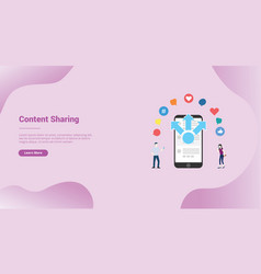 Mobile sharing content media concept for website vector