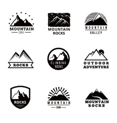 Mountains logo badges and emblems set vector