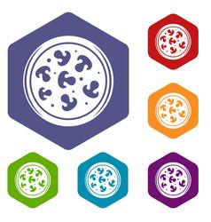 Mushroom pizza icons set hexagon vector