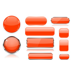 orange glass buttons collection of 3d icons vector image