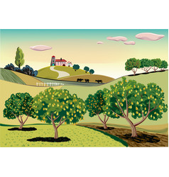 Orchard with pear trees vector