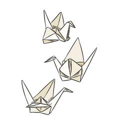 Origami paper swan doodles geometric birds vector