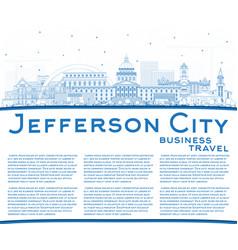 outline jefferson city missouri skyline with blue vector image