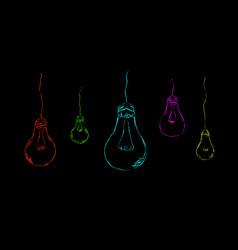 Painted light bulbs on a dark background vector