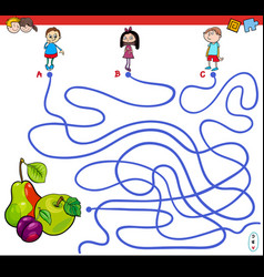 Paths maze game with kids and fruits vector