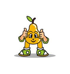 Pear fruit mascot design vector