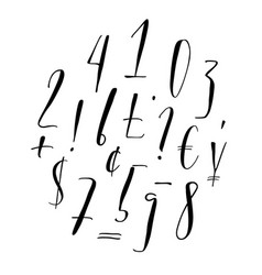 Pen lettering numbers punctuation currency vector