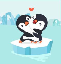 penguin couple hug in north pole arctic vector image