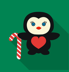 Penguin with candy cane icon in flat style vector