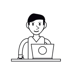 Pictogram young man using laptop on desk vector