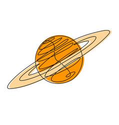 Planet continuous line vector