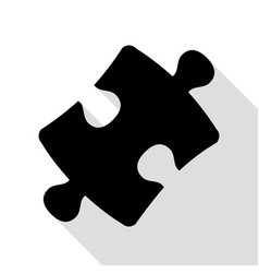 puzzle piece sign black icon with flat style vector image vector image