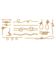 realistic knots rope nodes and cord threads vector image