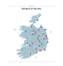 republic ireland map with red pin vector image