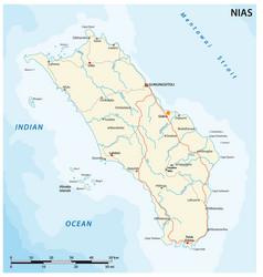 Road map indonesian island nias vector