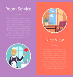 room service and nice view vector image