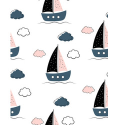 sailboats baby seamless pattern on white vector image