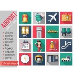 set airport flat icons set paper ribbons vector image