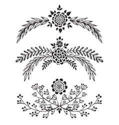 set hand drawn floral branches vector image
