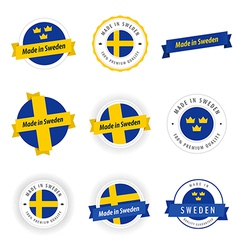 Set made in sweden labels and ribbons vector