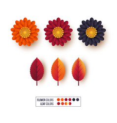 set of 3d autumn leaves with flowers decorative vector image