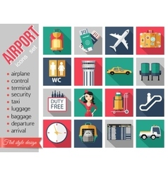 Set of airport flat icons Set of paper ribbons vector