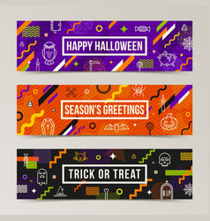 set of halloween greeting banners vector image