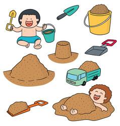 set of kid playing sand vector image