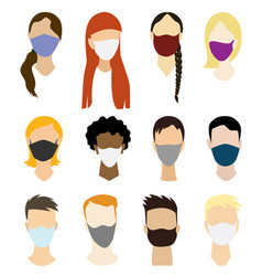 set people wearing protective mask to prevent vector image