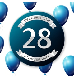 Silver number twenty eight years anniversary vector