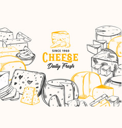 Sliced chunks sketched cheese for shop banner vector