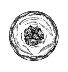 Strawberry cake sketch ink hand drawn fr vector