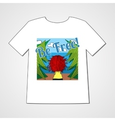 T-shirt with women in thye forest vector