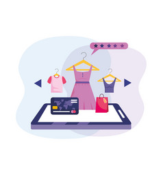 tablet technology with credit card to shopping vector image