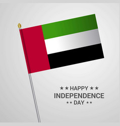 Uae independence day typographic design with flag vector