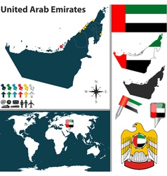 United Arab Emirates map world vector image