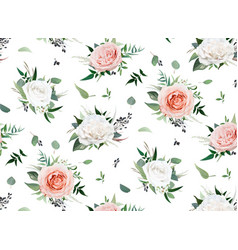watercolor style floral bouquet seamless pattern vector image