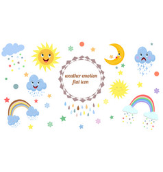 weather emotion flat icons vector image