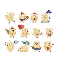 Webnew year 2019 set with christmas cartoon pigs vector