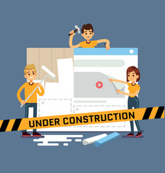 website under construction cartoon concept vector image
