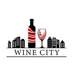 Wine city bottle and glass of red wine on the vector