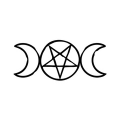 Witchcraft magic sign moon and pentagram vector