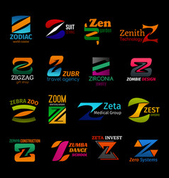 z icons corporate identity colorful trendy design vector image