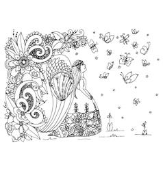 Zen Tangle angel girl with vector image