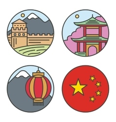 Country China travel vacation places in thin lines vector image vector image