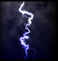 lightning flash light thunder spark on black vector image vector image
