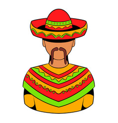 mexican man icon cartoon vector image