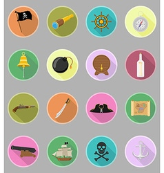 pirate flat icons 20 vector image vector image