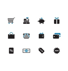 Shopping duotone icons on white background vector image vector image