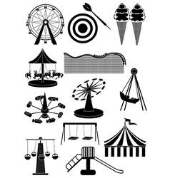 Amusement parks carnival icons set vector image